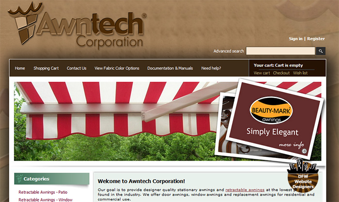 Awntech Corporation's Old Website Before DFW Website Designers' Rebuild