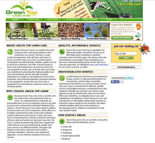Green Top Lawn Care Old Website