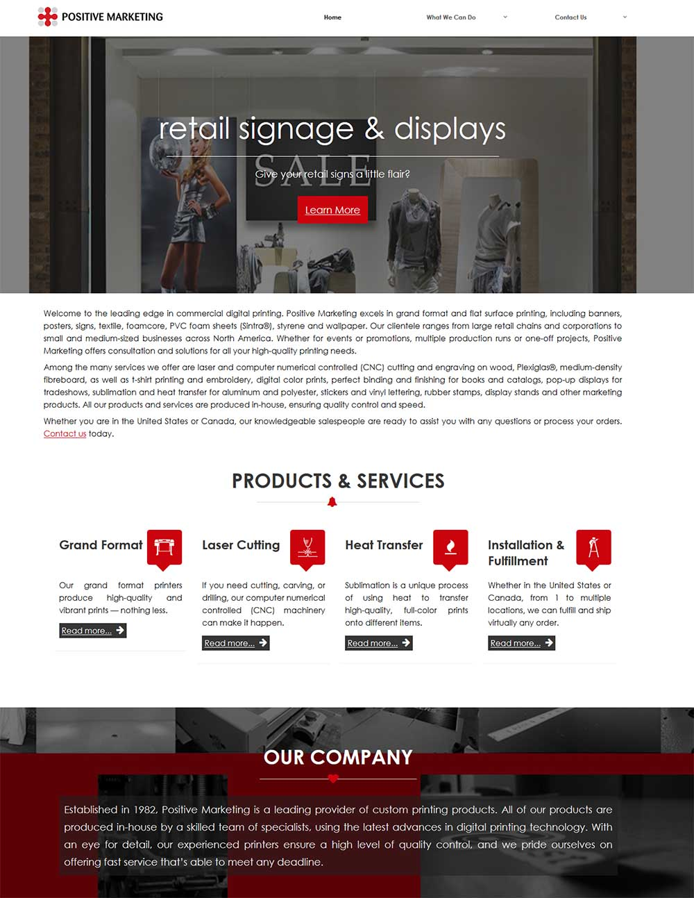 Positive Marketing designed by DFW Website Designers