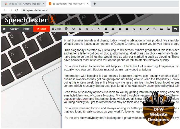 Screen Shot of Speech Texter
